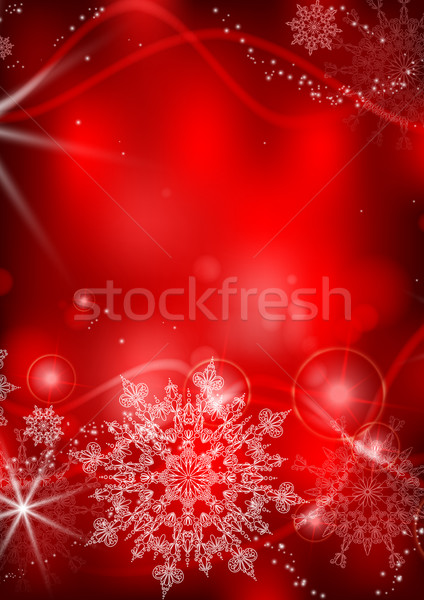 Red Background With Snowflakes. Stock photo © HelenStock
