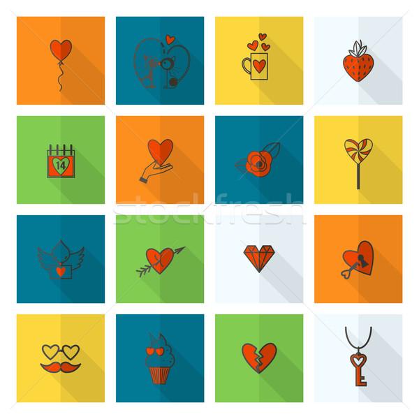 Foto stock: Feliz · día · de · san · valentín · iconos · simple · colección · boda