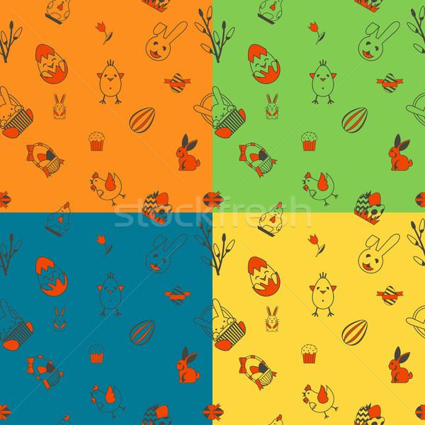Сток-фото: Пасху · четыре · различный · цветами · вектора