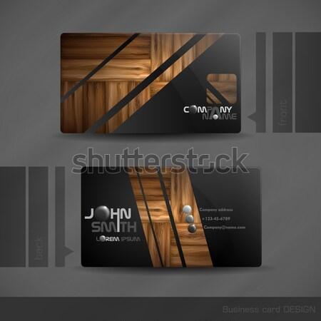 Visitekaartje ontwerp houtstructuur eps 10 hout Stockfoto © HelenStock