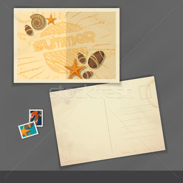 Stok fotoğraf: Eski · kartpostal · tasarım · şablonu · eps · 10 · kâğıt