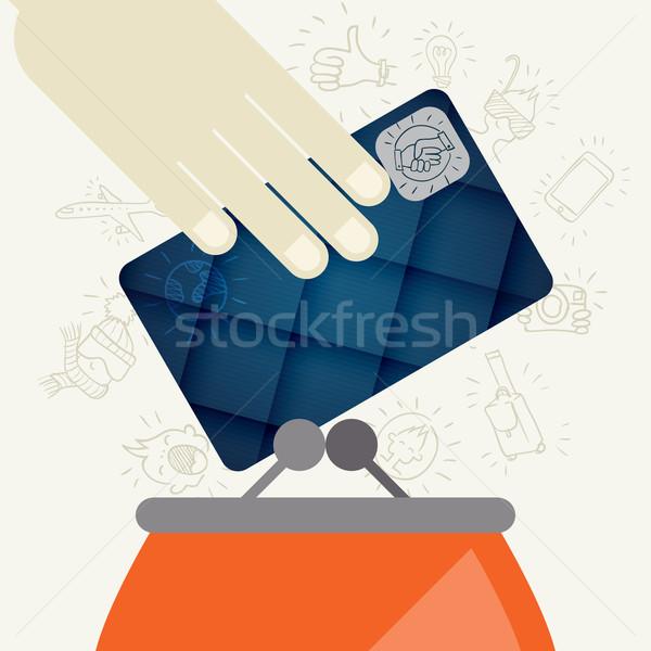 кредитных карт кошелька дизайна стиль прибыль на акцию 10 Сток-фото © HelenStock