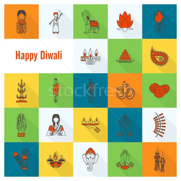 Diwali indian festival icônes simple Photo stock © HelenStock