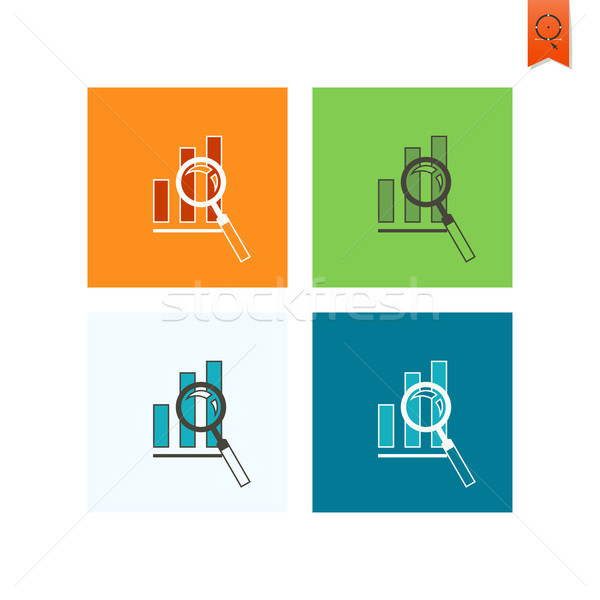 Stock photo: Magnifying Glass with Bar Chart