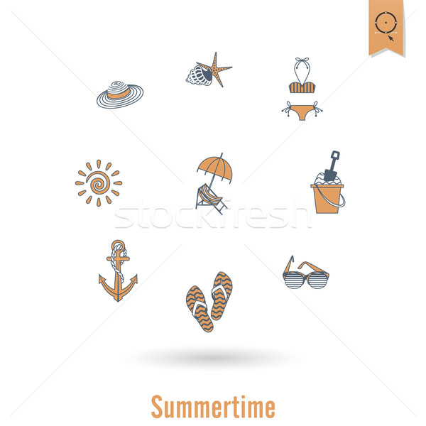 Yaz plaj basit simgeler seyahat tatil Stok fotoğraf © HelenStock