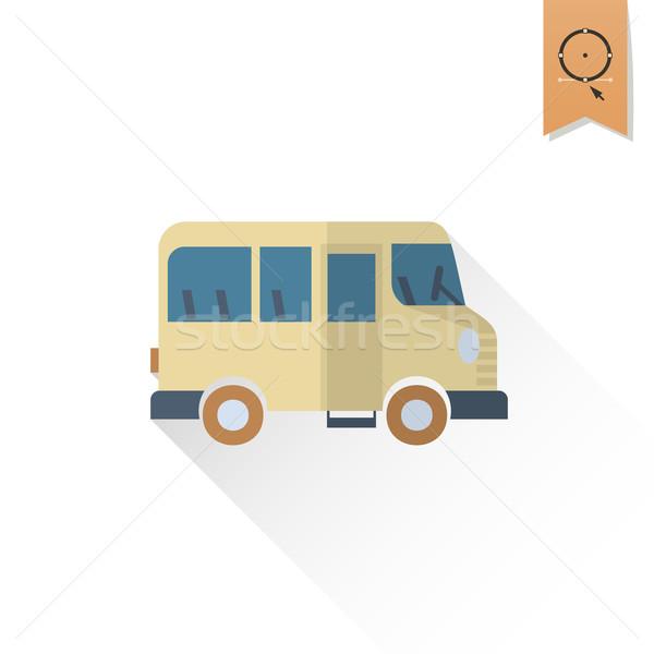 Iskola oktatás ikonok ikon busz terv Stock fotó © HelenStock