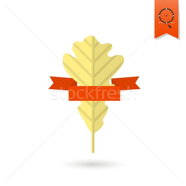 Folha fita texto outono ícone simples Foto stock © HelenStock