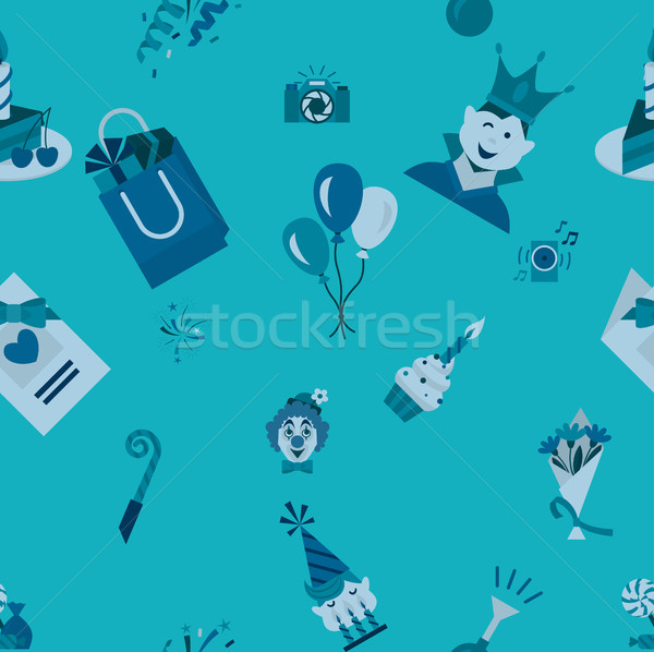 Boldog születésnapot végtelen minta egyszerű minimalista stílus monokróm Stock fotó © HelenStock