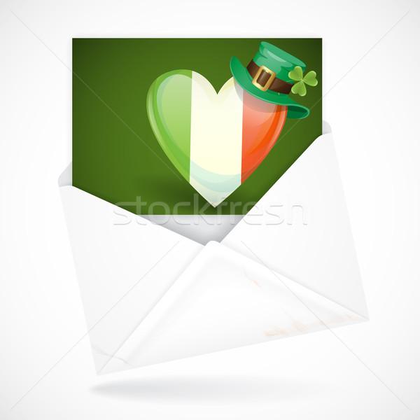 день ирландский флаг форма сердце Сток-фото © HelenStock