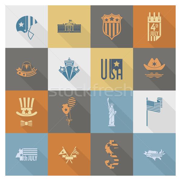 Tag Vereinigte Staaten einfache Symbole Vektor Stock foto © HelenStock