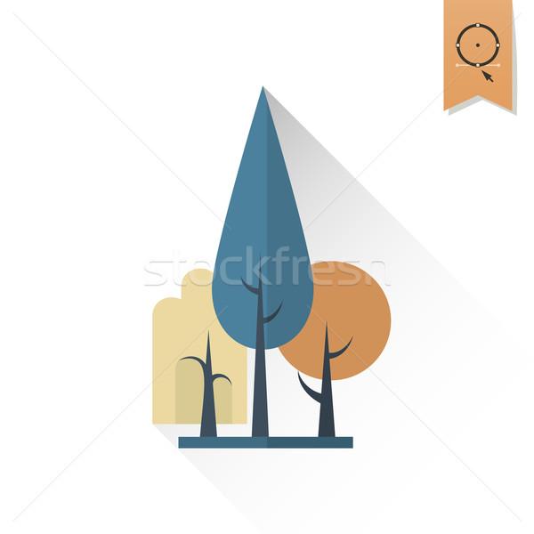 Stilizált fa ősz ikon egyszerű minimalista Stock fotó © HelenStock