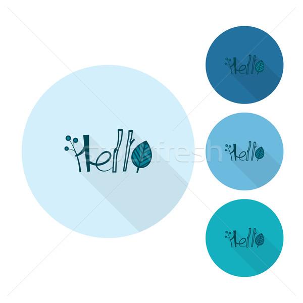Hello stilizált szöveg ősz ikon egyszerű Stock fotó © HelenStock