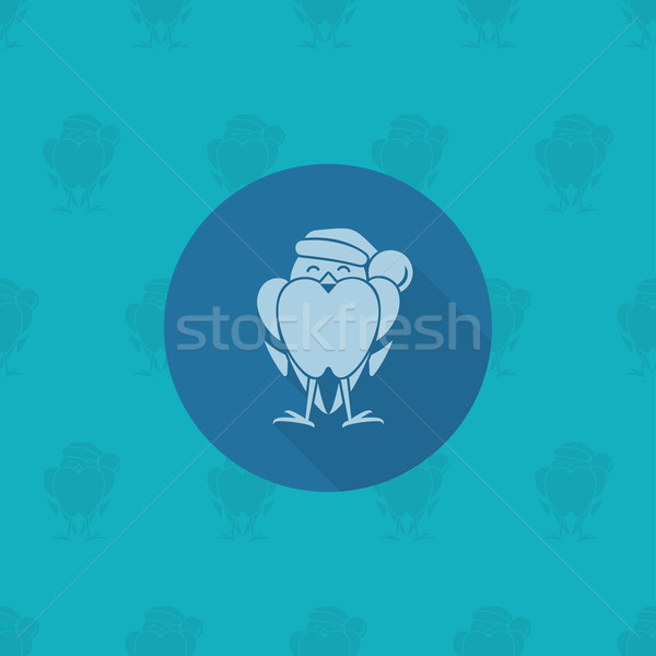 Funny Bird Bullfinch in Christmas Cap Stock photo © HelenStock