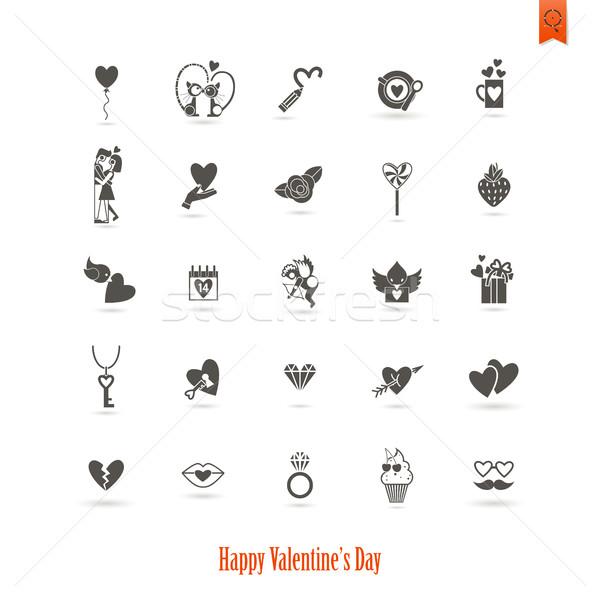 Feliz día de san valentín iconos simple colección boda Foto stock © HelenStock
