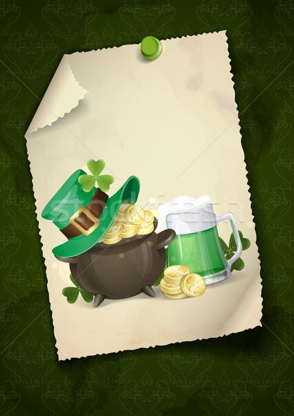 Jour de St Patrick chapeau trèfle pot or Photo stock © HelenStock