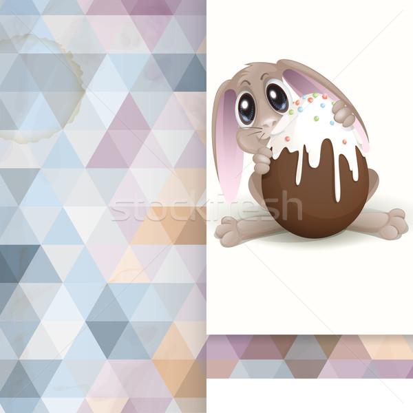 Easter Bunny With Chocolate Egg Stock photo © HelenStock