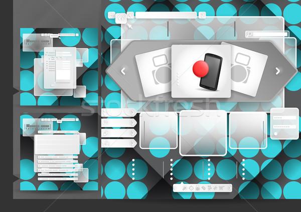 Progettazione di siti web modello menu elementi faq registrazione Foto d'archivio © HelenStock