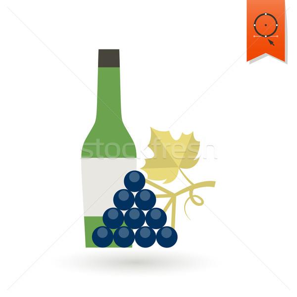 Botella vino uvas otono icono simple Foto stock © HelenStock
