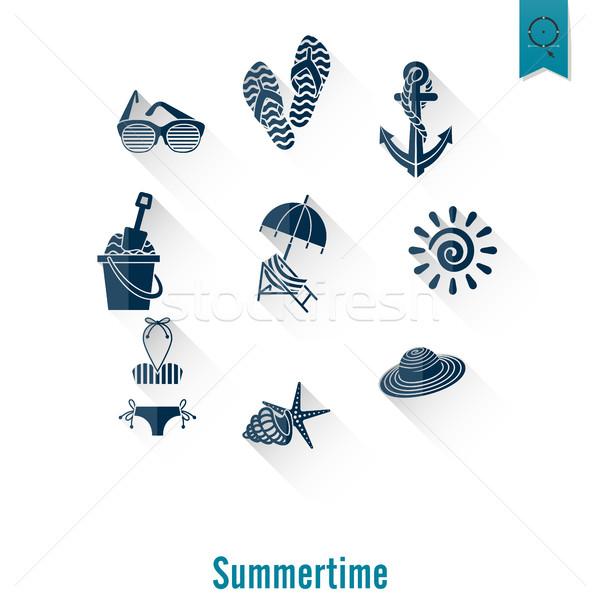 été plage simple icônes Voyage vacances Photo stock © HelenStock