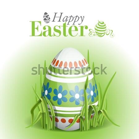 Húsvéti tojások fű üdvözlőlap design sablon eps 10 Stock fotó © HelenStock
