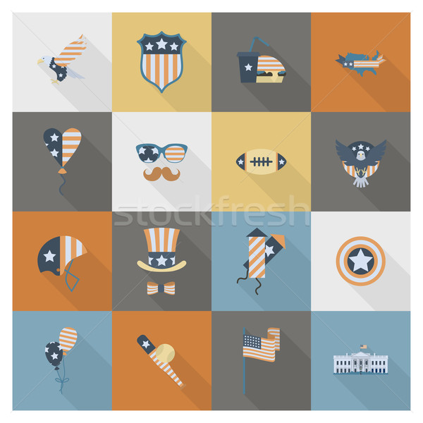 Dia Estados Unidos simples ícones vetor Foto stock © HelenStock