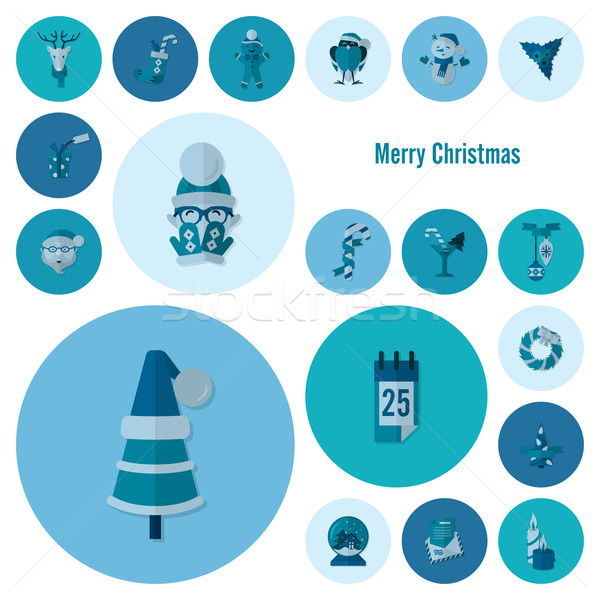 Christmas winter iconen collectie monochroom kleur Stockfoto © HelenStock