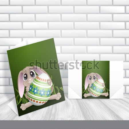 Easter Bunny With Colorful Egg. Stock photo © HelenStock