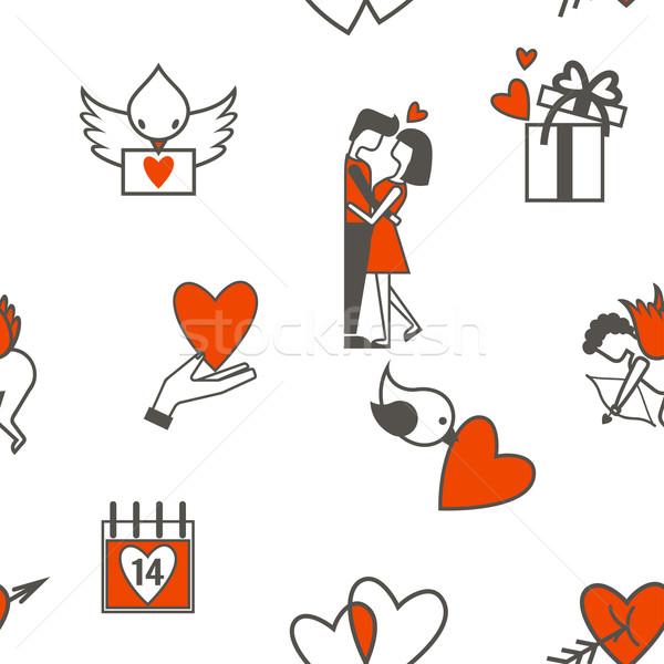 Stock fotó: Romantikus · végtelenített · szimbólumok · valentin · nap · végtelen · minta · elemek