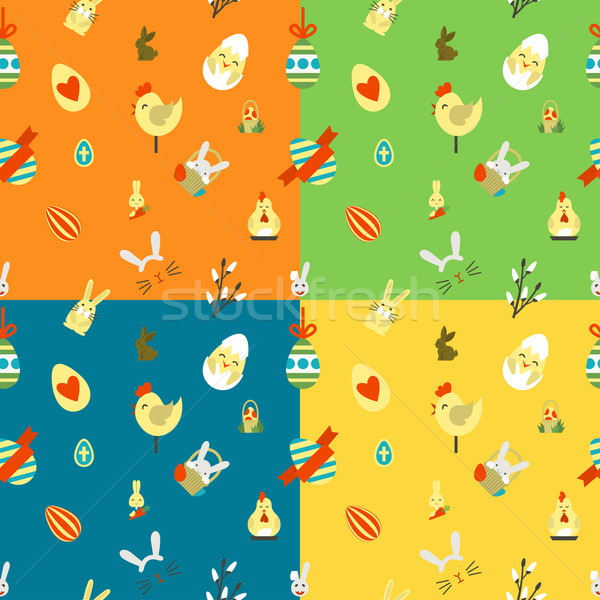 Stok fotoğraf: Paskalya · dört · farklı · renkler · vektör