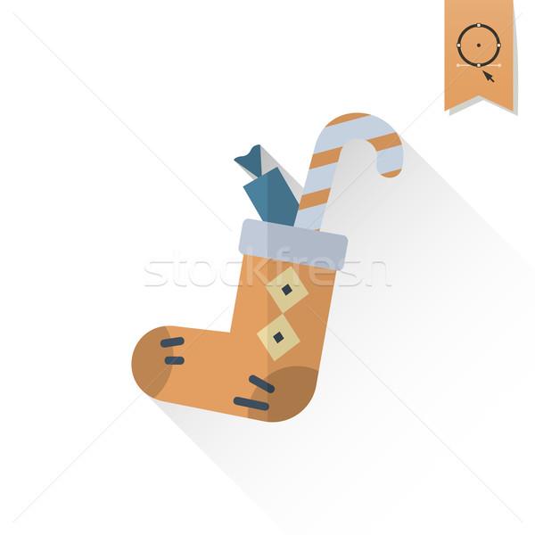 ストックフォト: クリスマス · 靴下 · 長い · 影 · レトロな