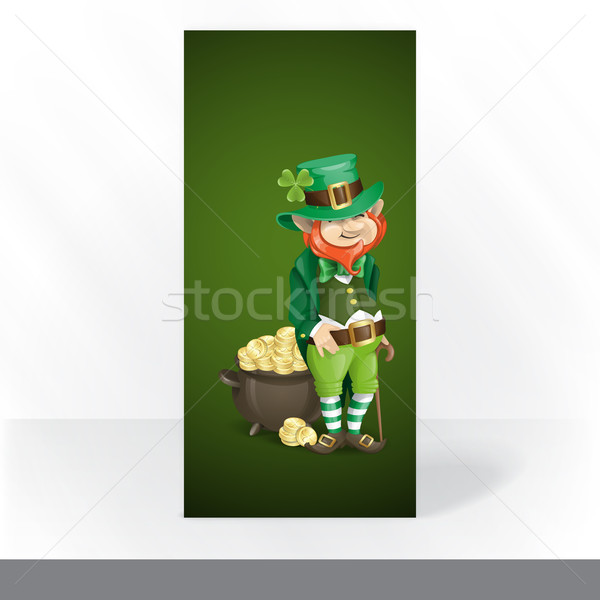 St. Patrick's Day. Leprechaun With Pot Of Gold Stock photo © HelenStock
