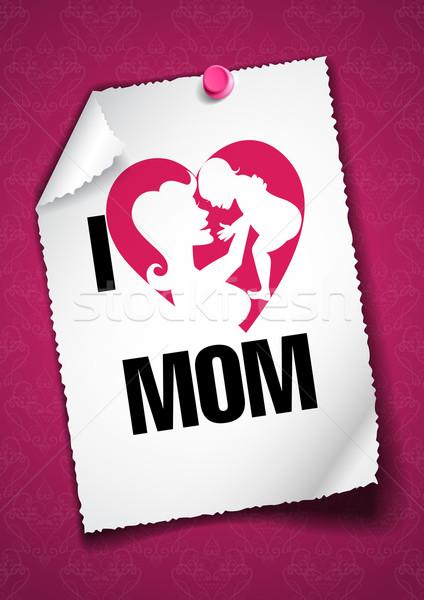 Felice madre biglietto d'auguri modello di progettazione carta cuore Foto d'archivio © HelenStock