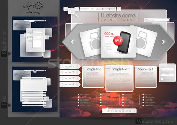 ウェブサイトのデザイン テンプレート メニュー 要素 よくある質問 ストックフォト © HelenStock