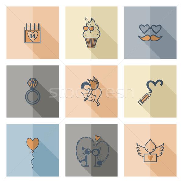 Сток-фото: счастливым · иконки · простой · коллекция · свадьба