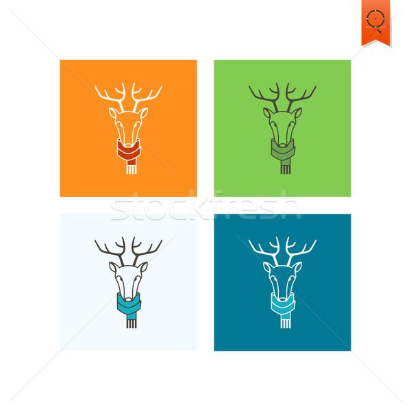 Karácsony rénszarvas színes ikon vektor narancs Stock fotó © HelenStock