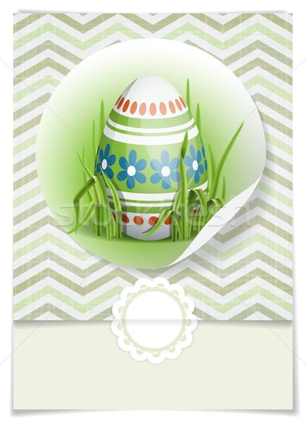 Paskalya yumurtası çim tebrik kartı tasarım şablonu eps 10 Stok fotoğraf © HelenStock