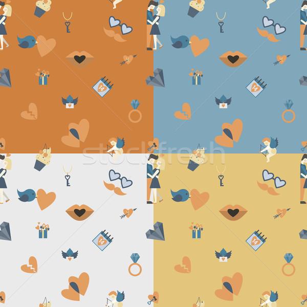 Romântico sem costura símbolos vetor abstrato Foto stock © HelenStock