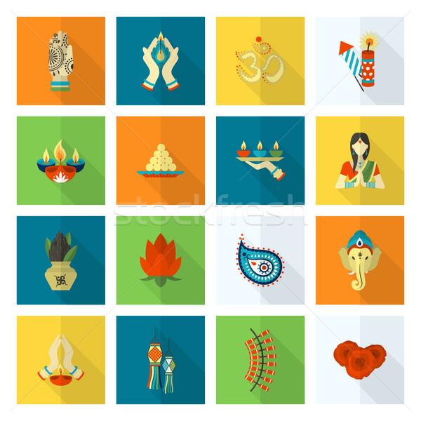 Foto stock: Diwali · indiano · festival · ícones · simples