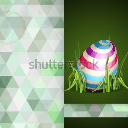 Paaseieren gras wenskaart ontwerpsjabloon eps 10 Stockfoto © HelenStock