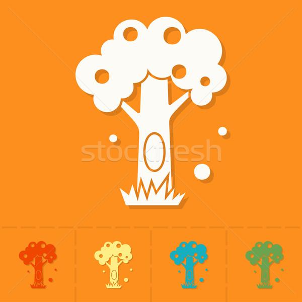 стилизованный дерево полый осень икона простой Сток-фото © HelenStock