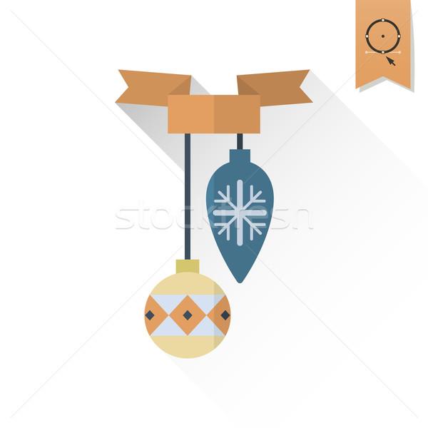 ストックフォト: クリスマス · ボール · リボン · 長い · 影 · レトロな