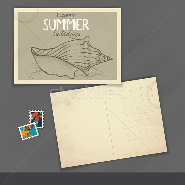 Vieux carte postale modèle de conception eps 10 papier Photo stock © HelenStock
