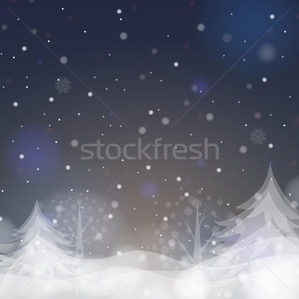 Choinka eps 10 świetle śniegu Zdjęcia stock © HelenStock