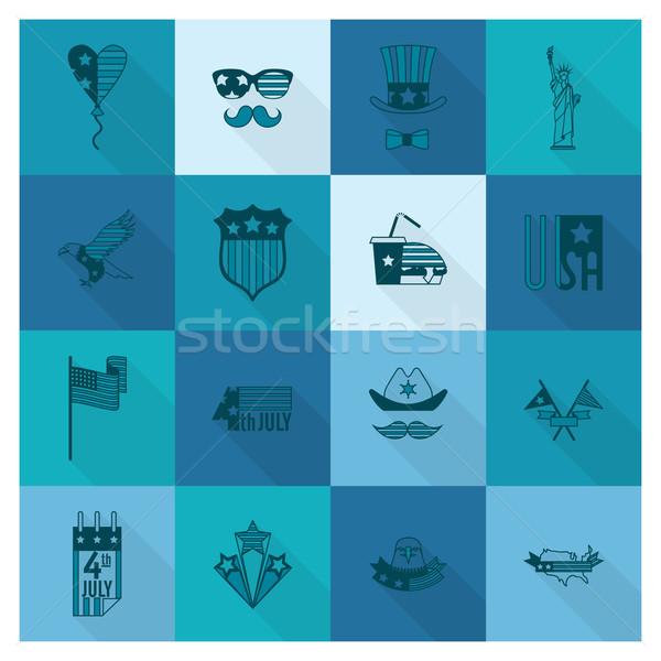 Jour États-Unis simple icônes vecteur Photo stock © HelenStock