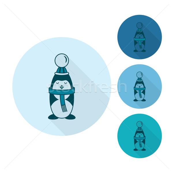 Christmas Penguin. Monochrome color Stock photo © HelenStock