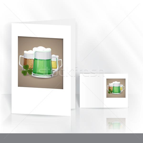Taza verde cerveza día de san patricio tarjeta de felicitación plantilla de diseño Foto stock © HelenStock