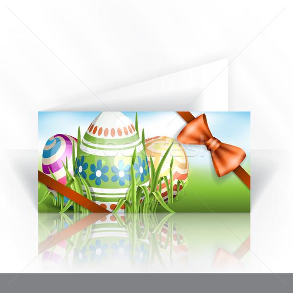 Húsvéti tojások fű meghívó design sablon eps 10 Stock fotó © HelenStock