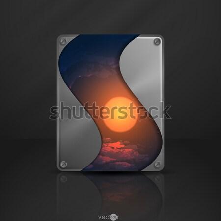 Metal texture plaque eps 10 fond métal Photo stock © HelenStock