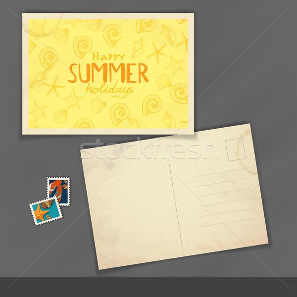 Vieux carte postale modèle de conception eps 10 plage Photo stock © HelenStock