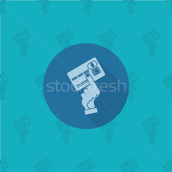 Kéz tart hitelkártya üzlet pénzügy ikon Stock fotó © HelenStock